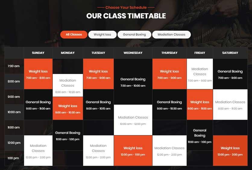 Gimnas - Gym Fitness WordPress Theme Calendar