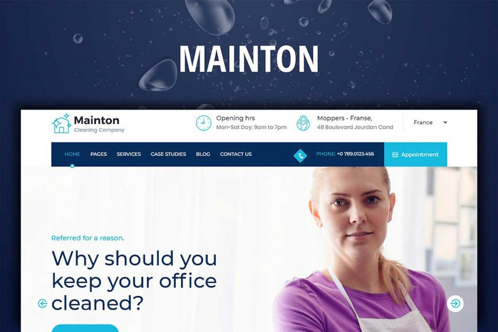Mainton - WordPress Theme for Cleaner Company Websites