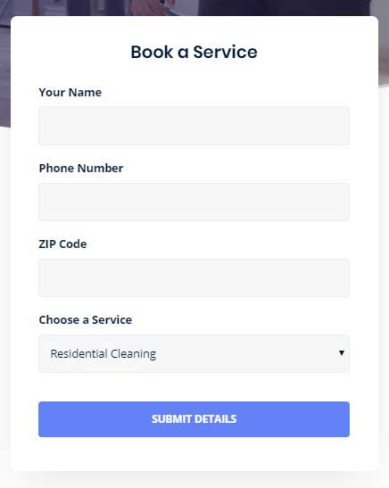 Moppers - WordPress Theme  Booking form