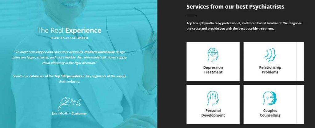 UI of Psychology - Therapy WordPress theme