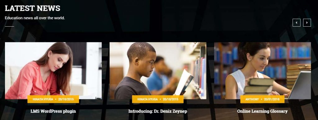 Latest news section presentation of a school or university website