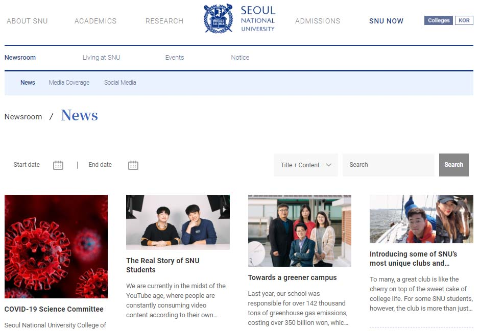 Latest news in grid view in a school or university website