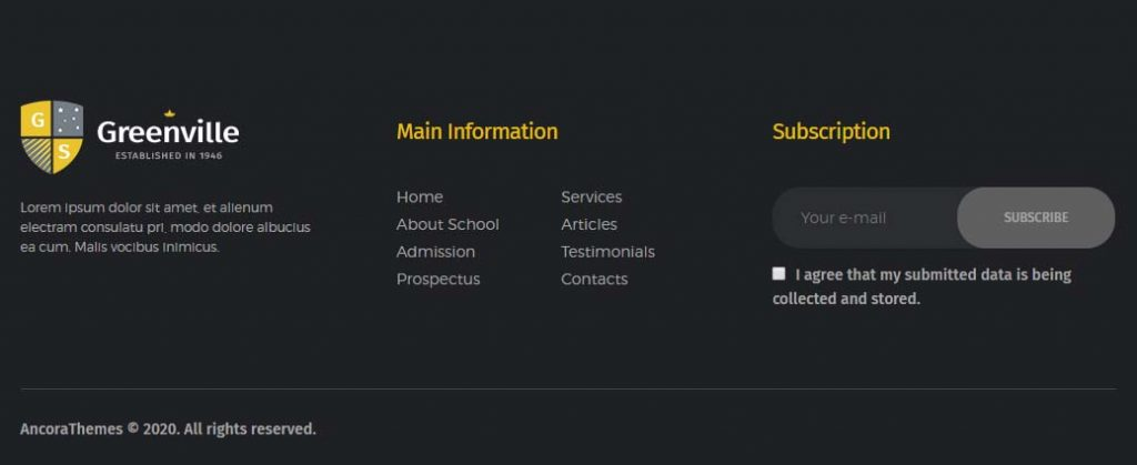 Another example of footer section in a school or university website
