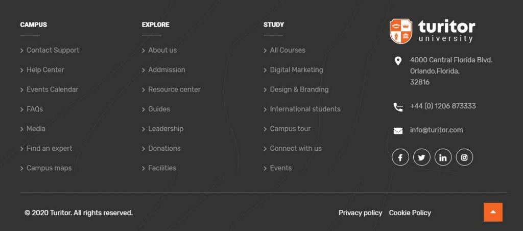 Useful links in a footer section of a university or school website