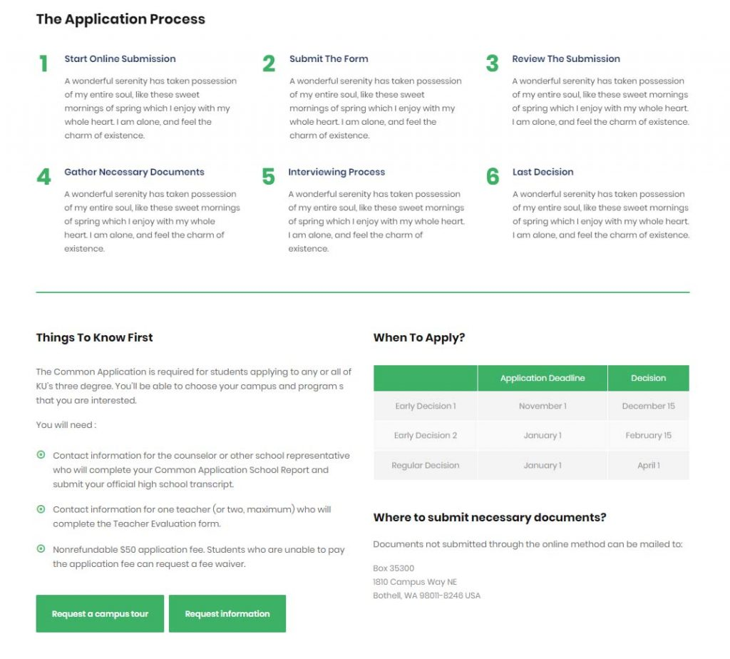 Example of application process section in a university or school website