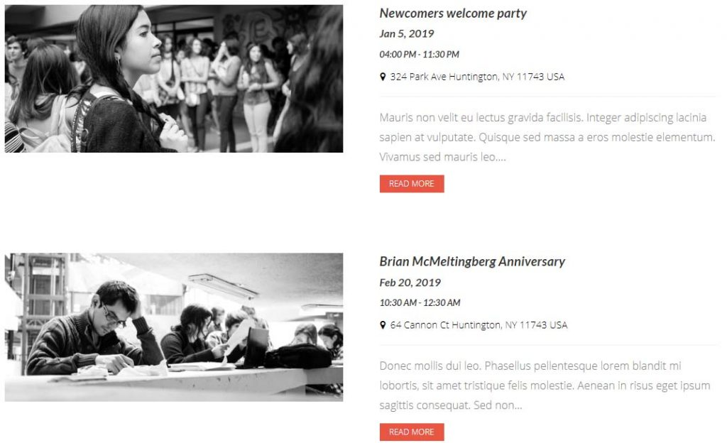List of event in an institute website
