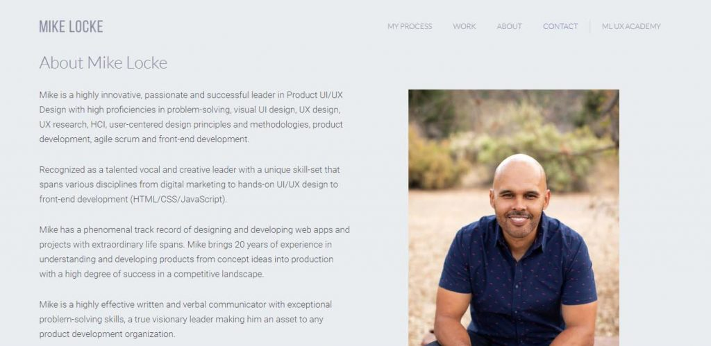 Another example of about section in a personal portfolio site.