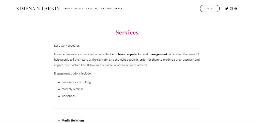 Service section example in a  personal portfolio website.