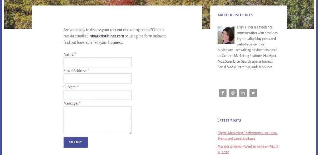 A Contact form with information in a  personal portfolio website.