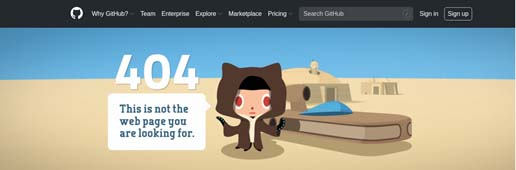 Github's 404 Page Not Found example