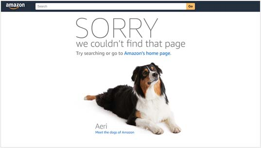 Amazon's 404 Page Not Found example
