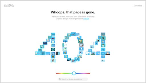 Dribble's 404 Page Not Found example
