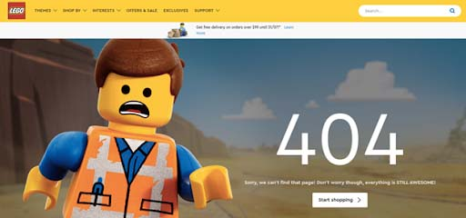 Lego's 404 Page Not Found example