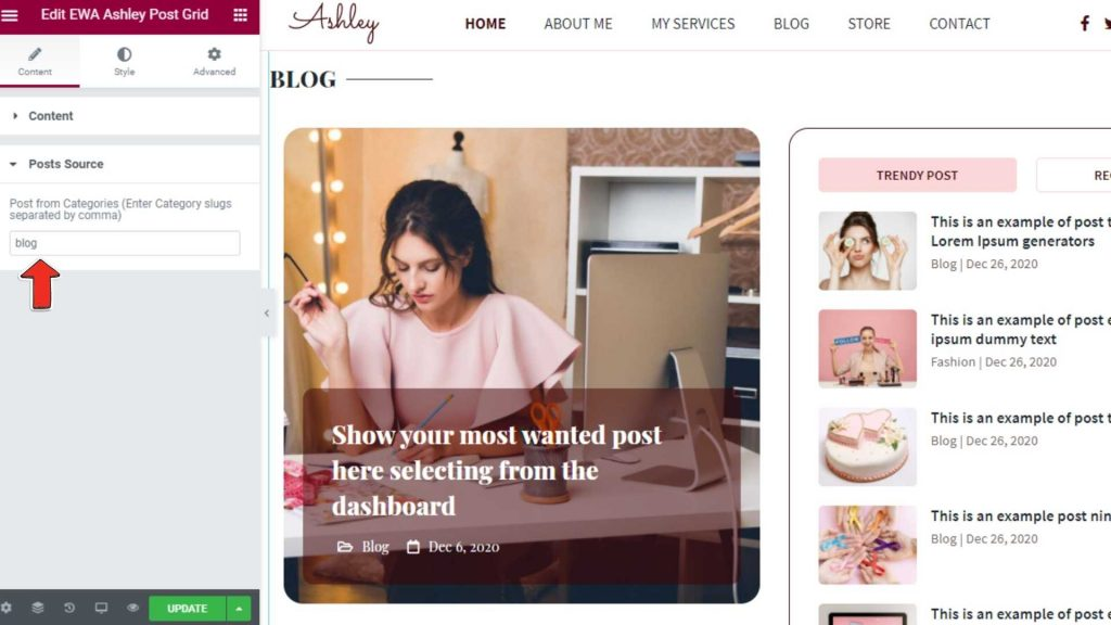 Blog Post Source - Ashley WordPress Theme for Bloggers
