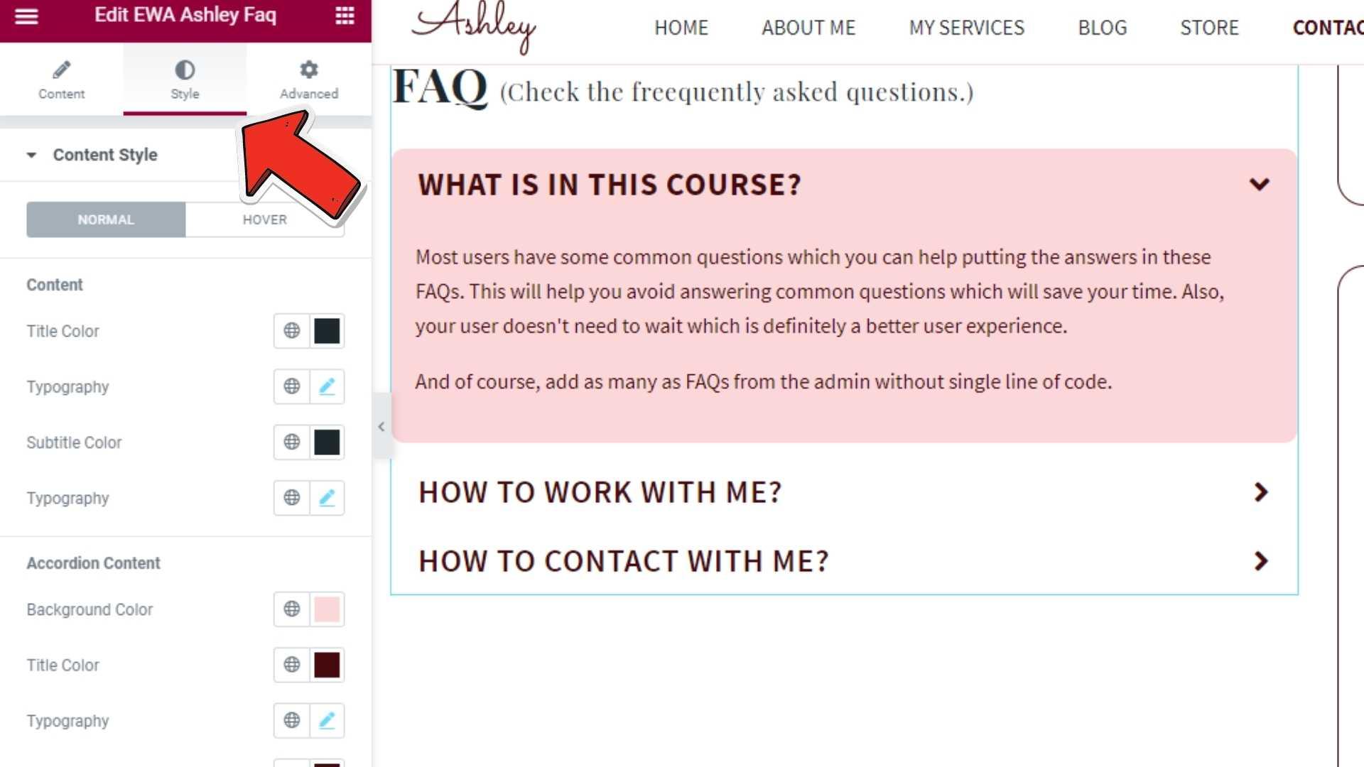 FAQ Style Ashley