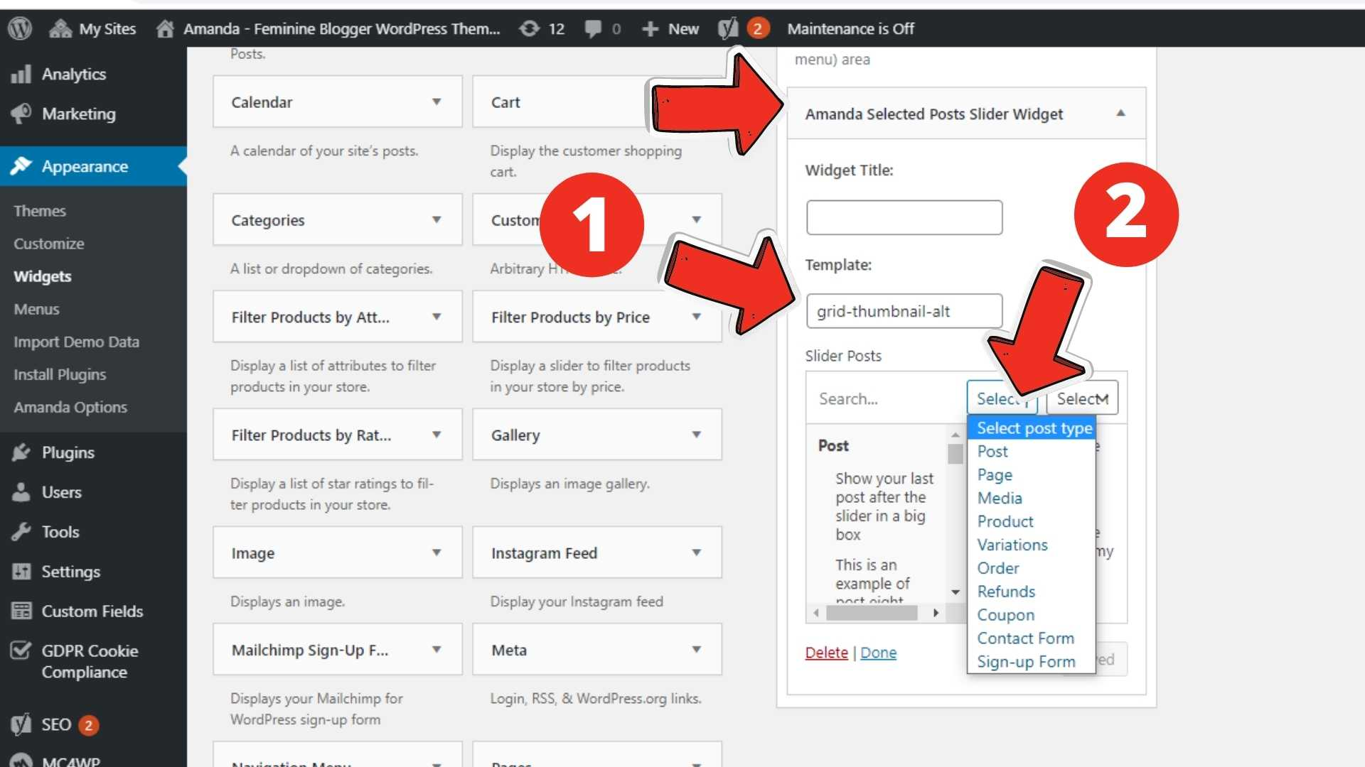Slider widget settings