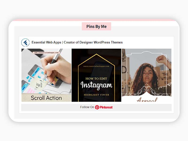 Pinterest feed display