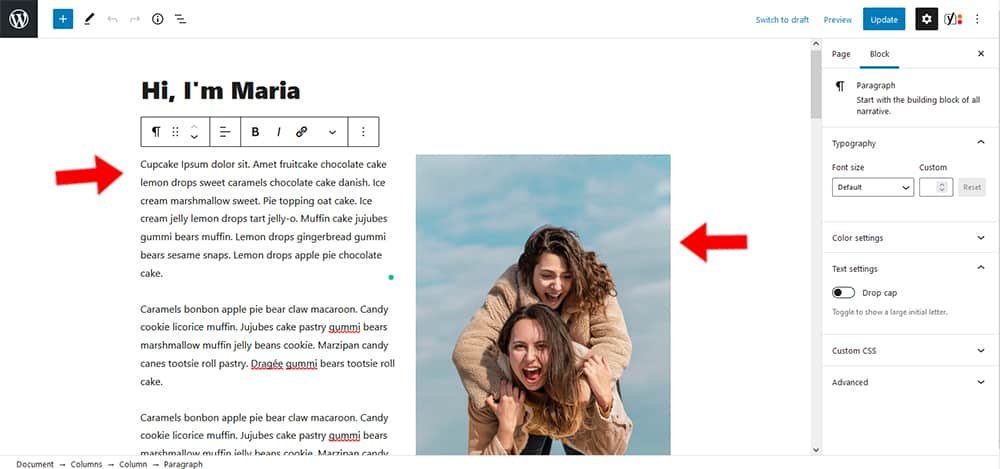 Maria WordPress theme About Page content settings