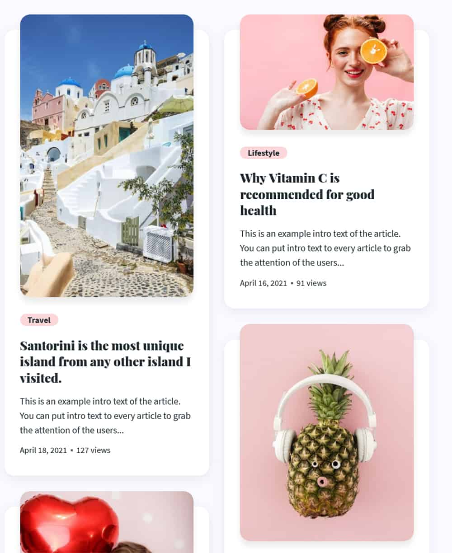 Maria WordPress theme Newsfeed widget output