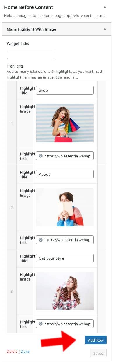 Maria WP theme Highlight widget editor