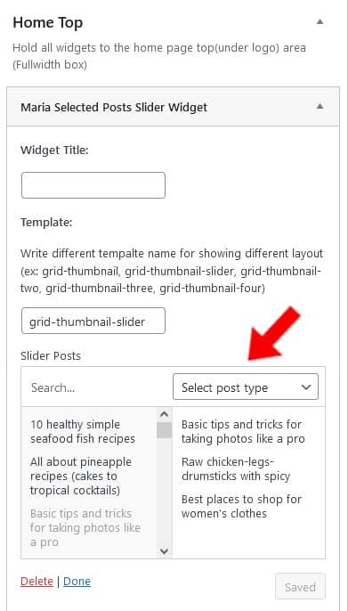 Maria WordPress theme Selected Slider widget editor