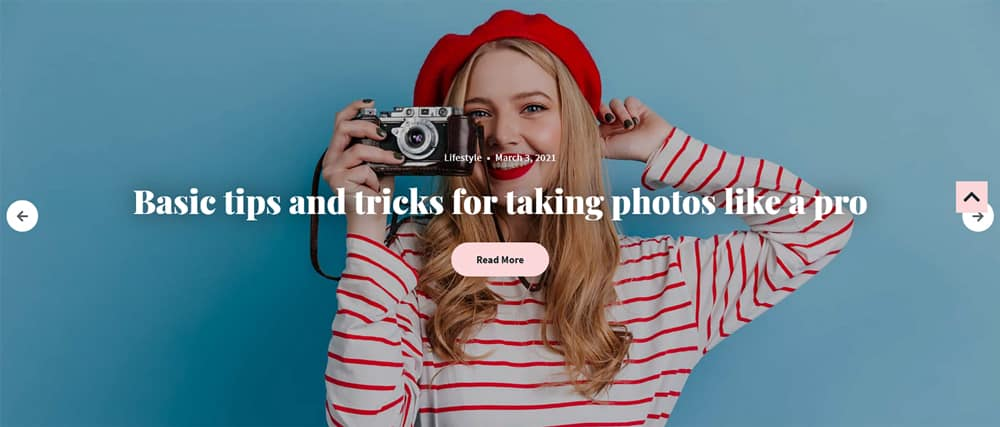 Maria WordPress theme Selected Slider widget output