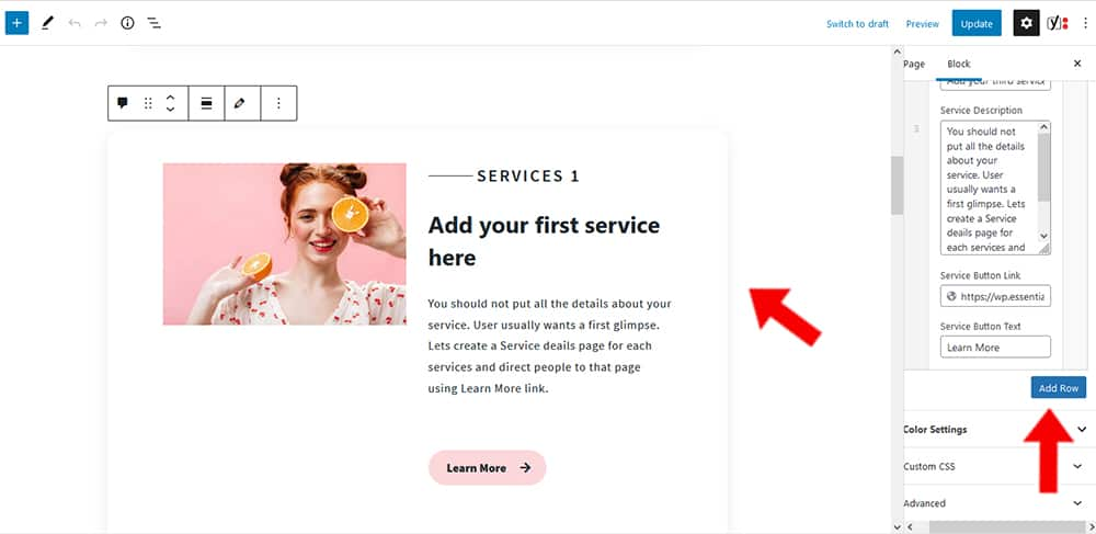 Maria WP Theme Services Content settings
