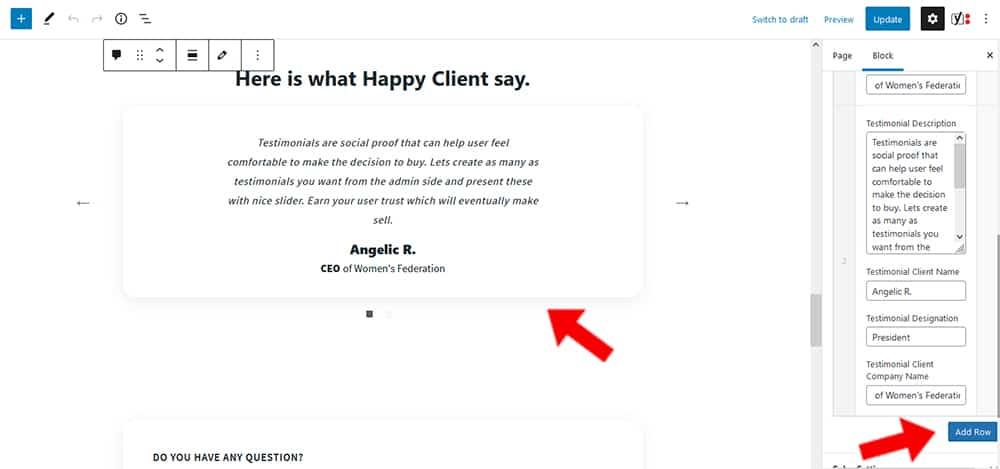 Maria WordPress theme Testimonial Content settings