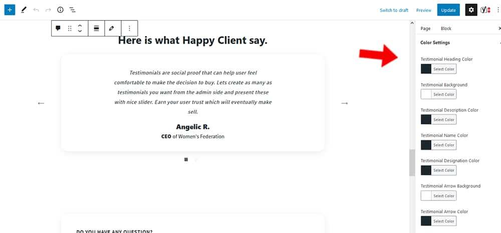 Maria WordPress theme Testimonial color settings