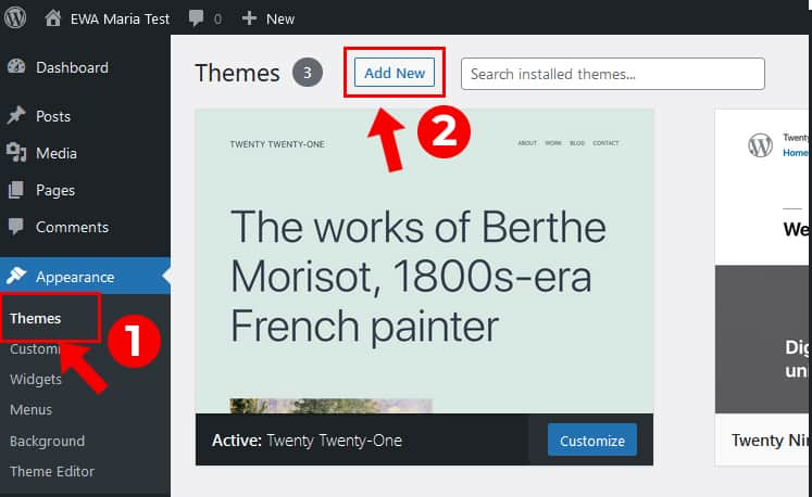 Maria WordPress theme Installation step one