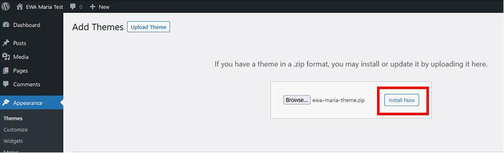 Maria WordPress theme Installation step three